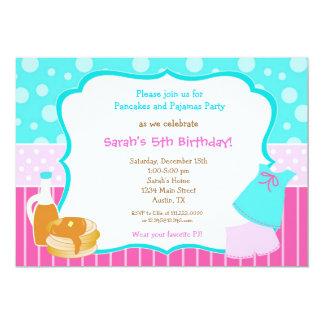 Pajamas and pancake Birthday invitations
