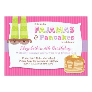 Pajamas and Pancakes Birthday Party Sleepover 5x7 Paper Invitation Card