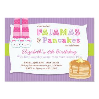 Pajamas and Pancakes Birthday Party Sleepover Card