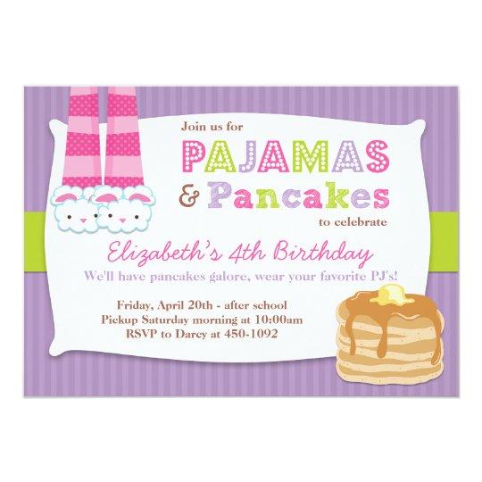 Pajamas And Pancakes Birthday Party Sleepover Invitation