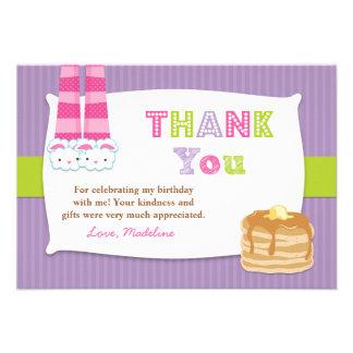 Pajamas and Pancakes Birthday Party Thank You Personalized Announcement