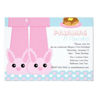 Pajamas & Pancakes Bunny Slippers Sleepover Personalized Invite