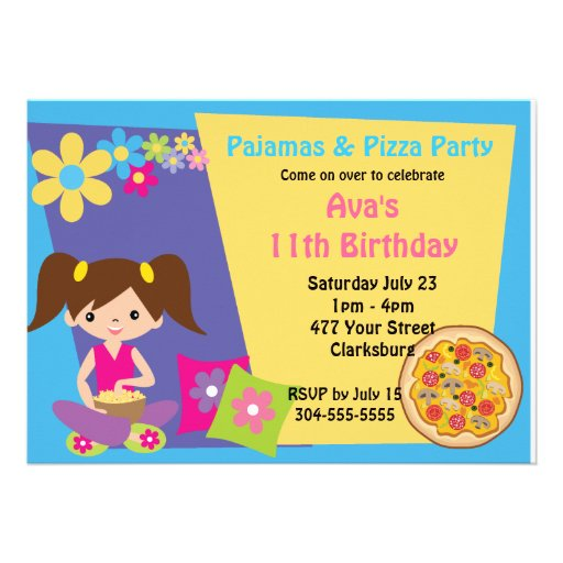 Pajamas & Pizza Party Personalized Invite