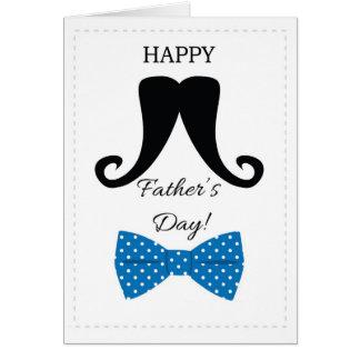 Pajarita azul de padres del día del bigote feliz d tarjetas