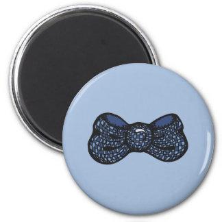 Pajarita azul imán redondo 5 cm