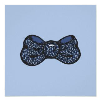 """Pajarita azul invitación 5.25"""" x 5.25"""""""