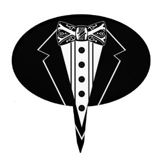Pajarita blanco y negro con Tux Figura De Tarta
