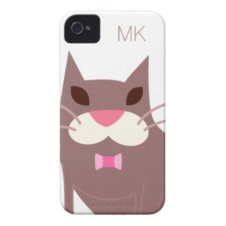 Pajarita del gato del monograma que lleva iPhone 4 cobertura