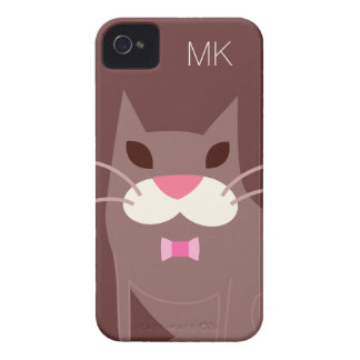 Pajarita del gato del monograma que lleva Case-Mate iPhone 4 cárcasas