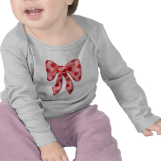 pajarita gráfica del polkadot rosado hinchado camiseta