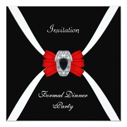"Pajarita roja blanca negra elegante elegante de la invitación 5.25"" x 5.25"""