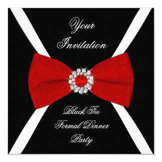 "Pajarita roja blanca negra elegante elegante invitación 5.25"" x 5.25"""