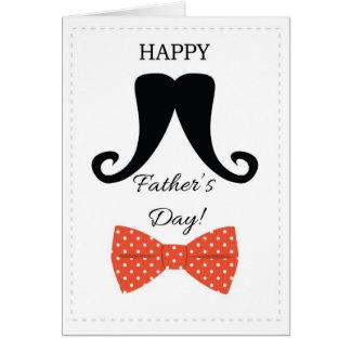 Pajarita roja de padres del día del bigote feliz d felicitacion