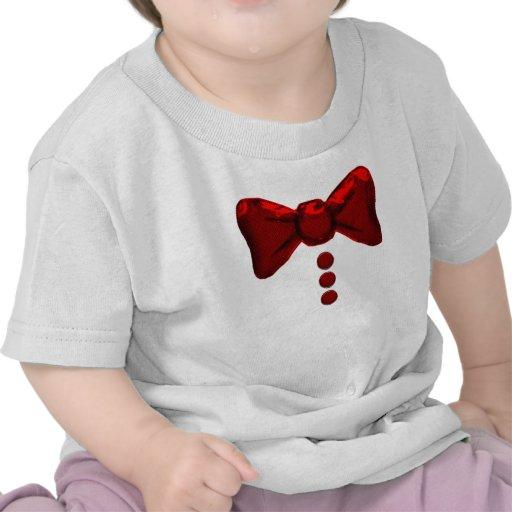 Pajarita y camiseta rojas lindas de los botones