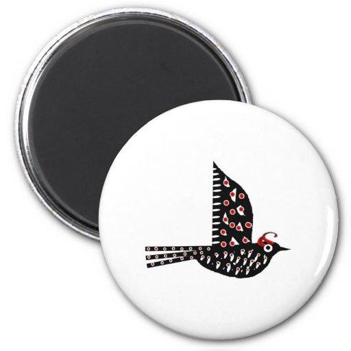 Pájaro 2 imán redondo 5 cm
