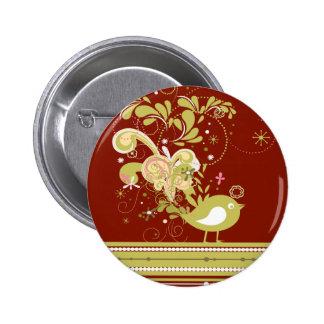 Pájaro abstracto del oro en el botón de Borgoña Pin