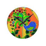 Pájaro abstracto psicodélico reloj de pared