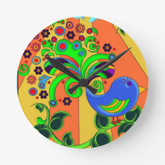 Pájaro abstracto psicodélico reloj redondo mediano