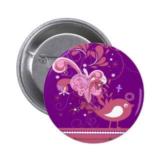 Pájaro abstracto rosado en el botón trasero púrpur