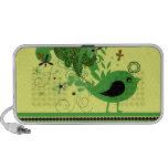 Pájaro abstracto verde en amarillo laptop altavoz