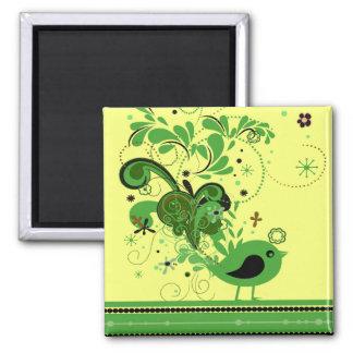 Pájaro abstracto verde en los imanes cuadrados ama