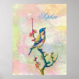 Pájaro adorable lindo de los watercolours del póster