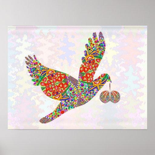 Pájaro afortunado del ángel - oro póster