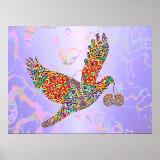 Pájaro afortunado del ángel posters