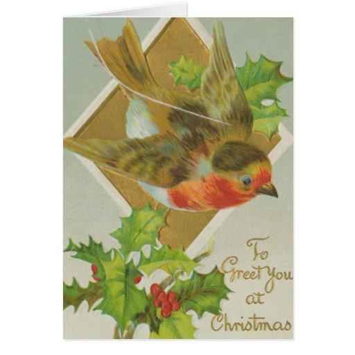 Pájaro alegre del navidad del vintage tarjeta de felicitación