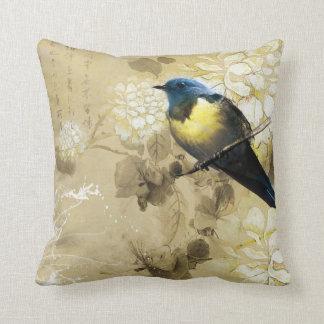 Pájaro amarillo azul del tordo - arte de la cojín
