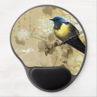 Pájaro amarillo azul del tordo - arte de la pintur alfombrillas de raton con gel