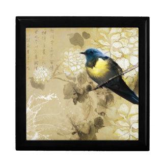 Pájaro amarillo azul del tordo - arte de la pintur cajas de regalo