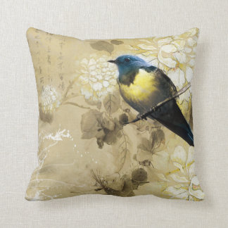Pájaro amarillo azul del tordo - arte de la pintur cojín