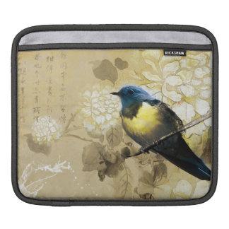 Pájaro amarillo azul del tordo - arte de la pintur fundas para iPads