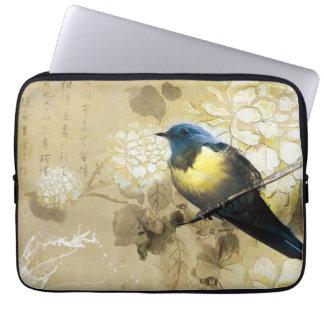 Pájaro amarillo azul del tordo - arte de la pintur funda ordendadores