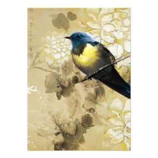 Pájaro amarillo azul del tordo - arte de la pintur anuncio personalizado