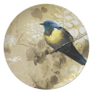 Pájaro amarillo azul del tordo - arte de la pintur platos de comidas