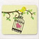 Pájaro amarillo, Birdcage Alfombrilla De Ratón