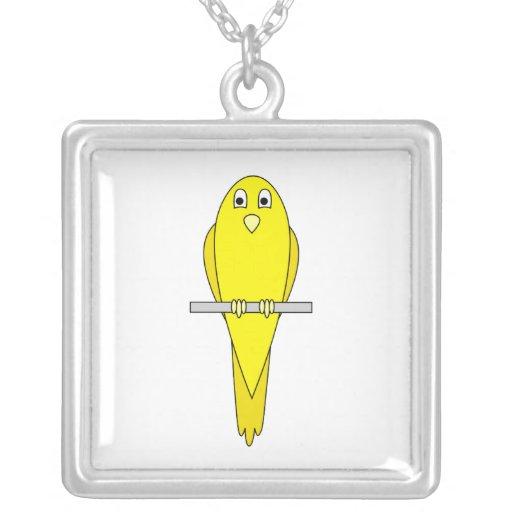 Pájaro amarillo. Canario. En blanco Colgante Personalizado