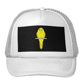 Pájaro amarillo. Canario. En negro Gorra