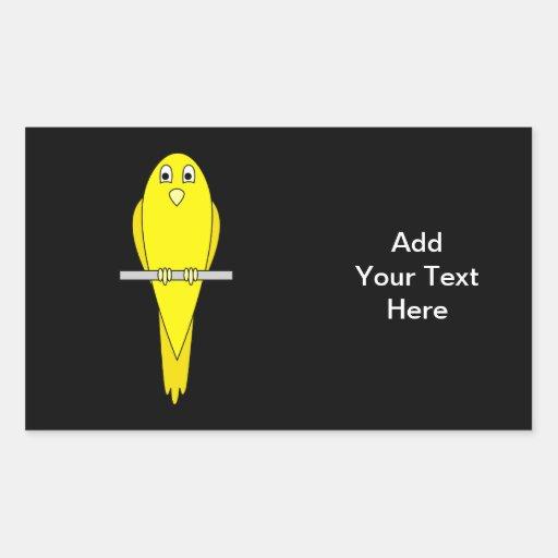 Pájaro amarillo. Canario. En negro Pegatina Rectangular