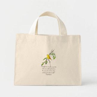 Pájaro amarillo de la bendición de la primavera bolsa tela pequeña