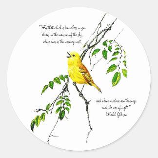 Pájaro amarillo de las bendiciones de la primavera pegatina redonda