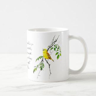 Pájaro amarillo de las bendiciones de la primavera taza clásica