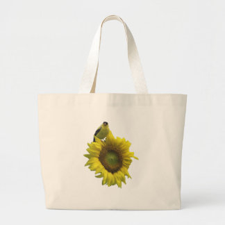 Pájaro amarillo en el girasol amarillo bolsa tela grande
