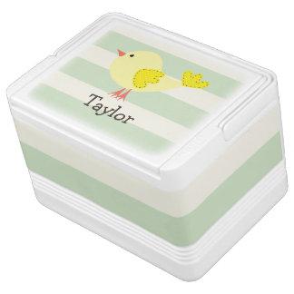Pájaro amarillo en rayas verdes en colores pastel hielera igloo