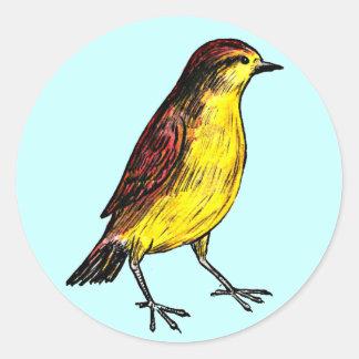 Pájaro amarillo pegatina redonda