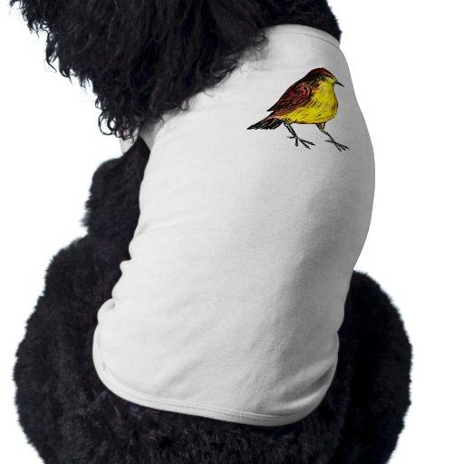 Pájaro amarillo playera sin mangas para perro
