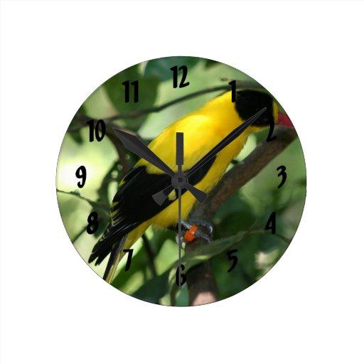 Pájaro amarillo y negro brillante en árbol reloj redondo mediano