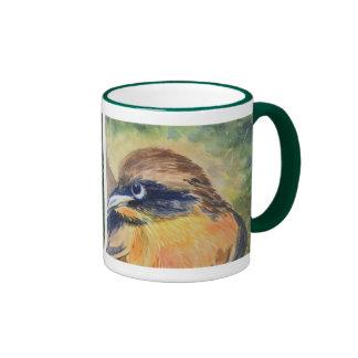 Pájaro amarillo y negro feroz taza a dos colores
